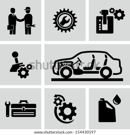 Car transmission, gearbox icons - stock vector