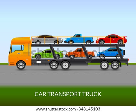 Car transport truck on the road with different types of cars flat vector illustration  - stock vector
