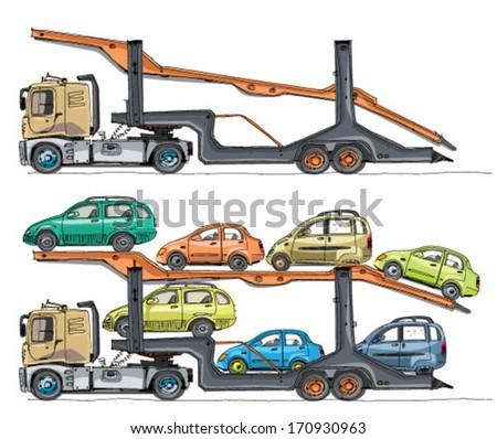 car transporter - cartoon - stock vector