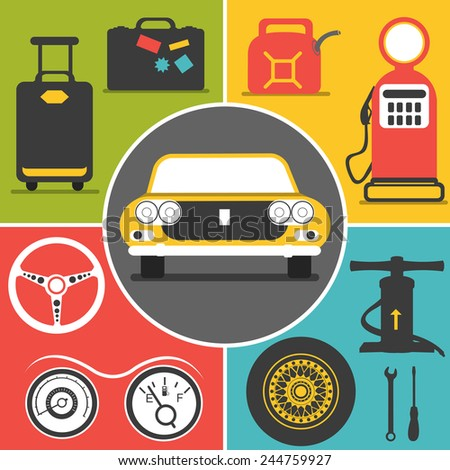 car travel flat  icons - stock vector