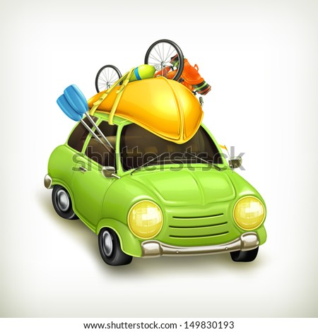Car travel, vector icon - stock vector