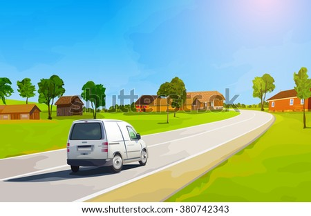 Car travels the countryside during summer season - stock vector