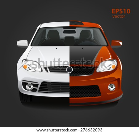 Car tuning color 3d creative illustration. Before and after concept. - stock vector