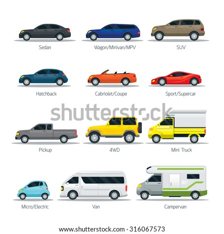 Car Type and Model Objects icons Set, Multicolor, Automobile - stock vector