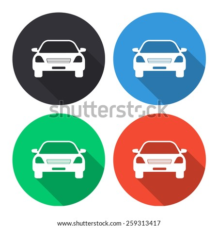 Car vector icon - colored(gray, blue, green, red) round buttons with long shadow - stock vector