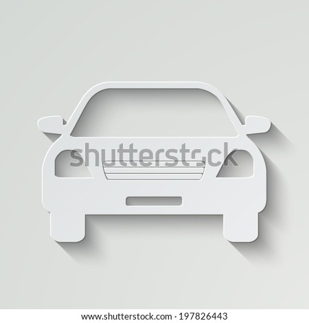 Car vector icon - paper illustration with shadow on light background - stock vector