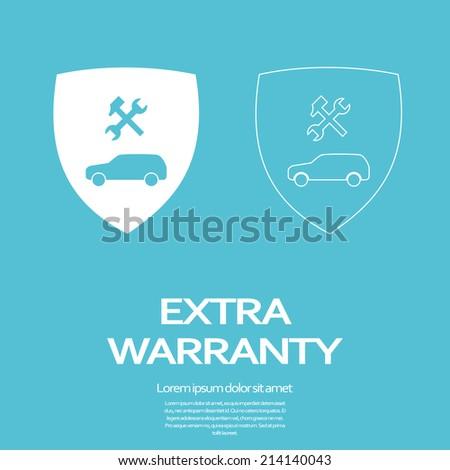 Car warranty concept with repair symbols. Eps10 vector illustration. - stock vector