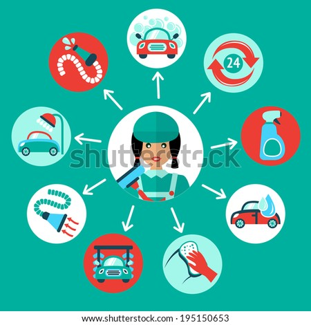 Car wash auto cleaner 24h service icons with service worker vector illustration - stock vector