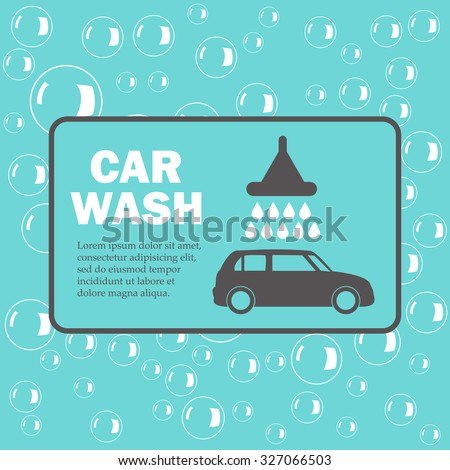 Car wash. Bubbles on blue background - stock vector