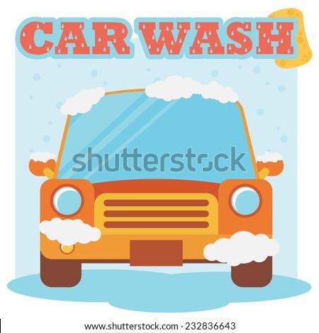 Car wash. Flat design - stock vector