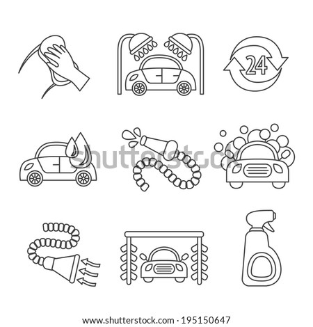 Car wash outline auto cleaner washer shower service isolated icons vector illustration - stock vector