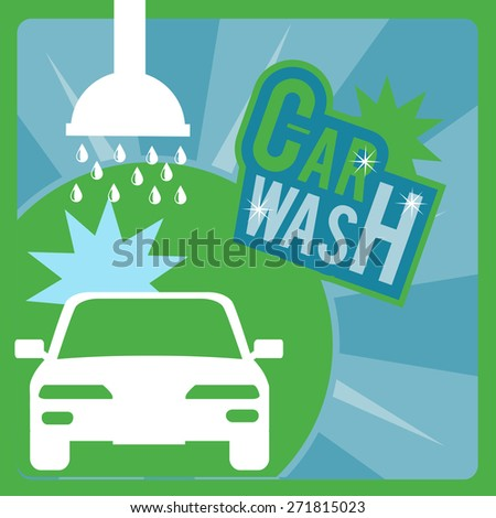 Car Wash over green, blue and white textured colors background - stock vector
