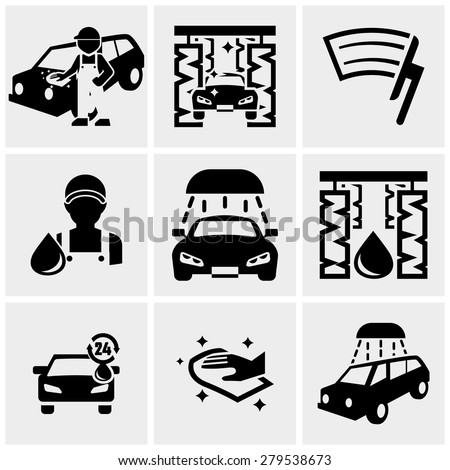 Car wash vector icons set on gray - stock vector