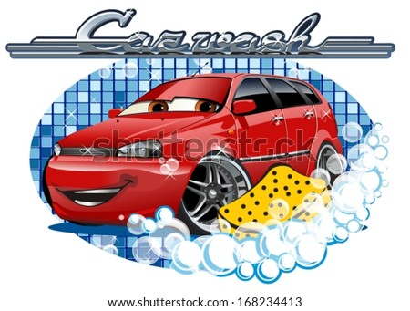Car Washing sign with sponge. EPS-10 separated by groups and layers for easy edit. - stock vector