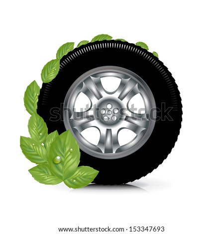 car wheel and green leaves; green energy concept isolated on white - stock vector