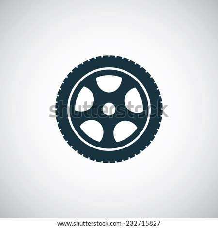 car wheel icon on white background  - stock vector