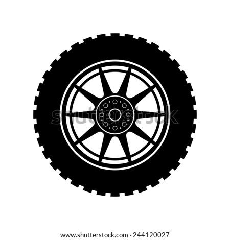 Car wheel icon - Vector - stock vector