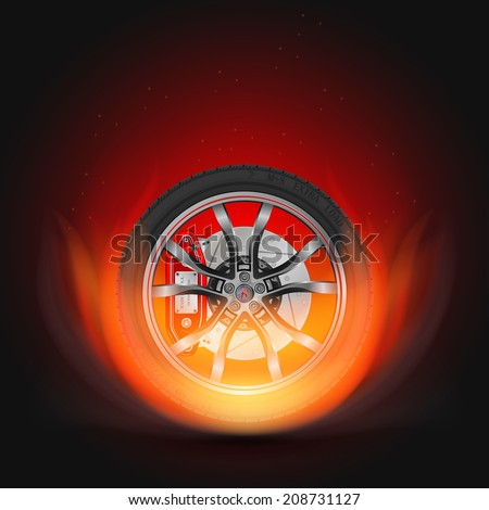 Car wheel on fire with a smoke on a black background - stock vector