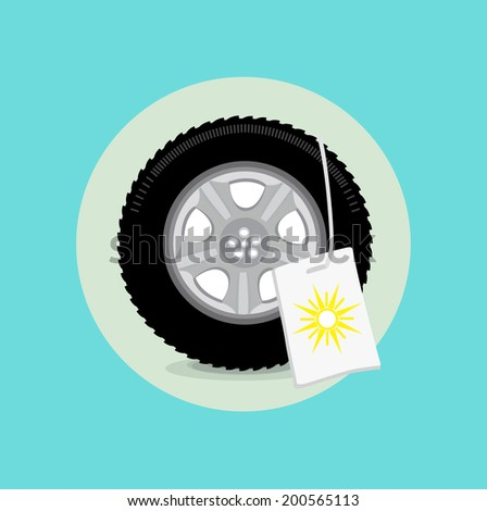 car wheel/tire with summer sign flat design - stock vector