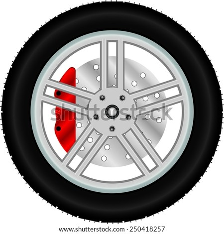 Car wheel with brake disc - stock vector
