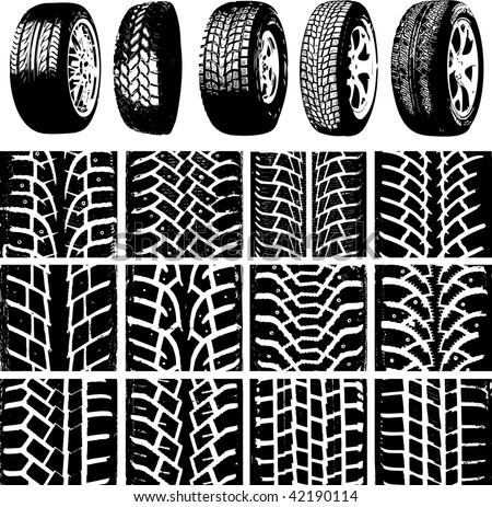 Car wheels and tyre tracks - stock vector