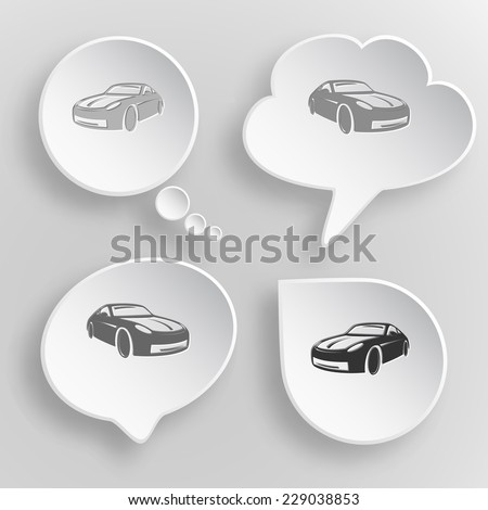 Car. White flat vector buttons on gray background. - stock vector