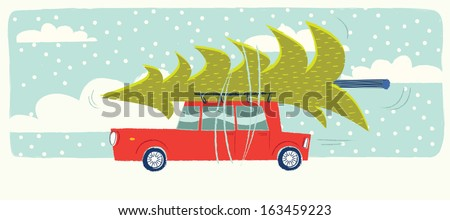 Car with a christmas tree on the roof - stock vector