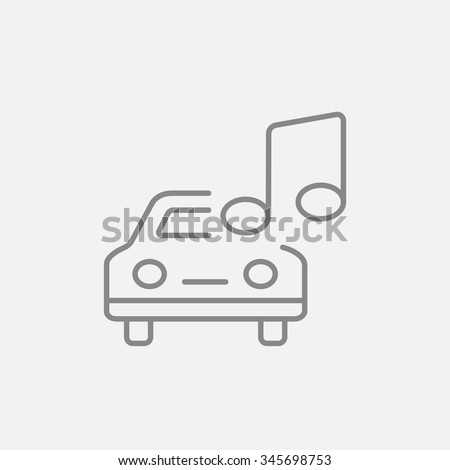 Car with music note line icon for web, mobile and infographics. Vector dark grey icon isolated on light grey background. - stock vector