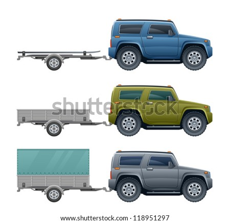 Car with trailer - stock vector
