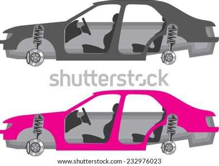 Car with wheels off doors off auto body - stock vector