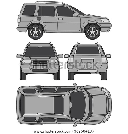 Car 4x4 line draw insurance, rent damage, condition report form, blueprint, four view - stock vector