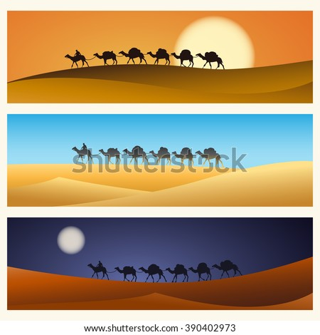 Caravan in desert vector illustration. Caravan of camels in Egyptian desert. Vector illustration - stock vector