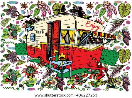 Caravan in the Jungle - stock vector