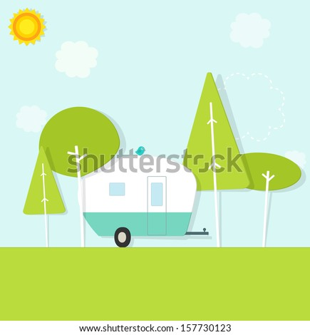 caravan in the woods - stock vector