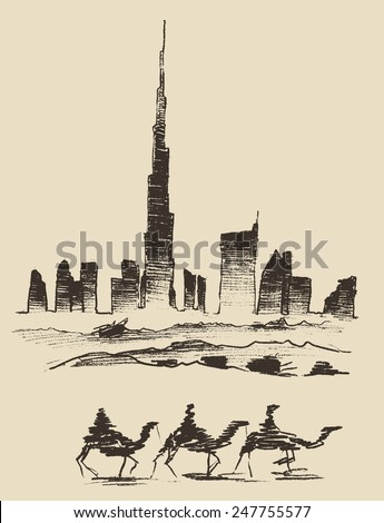 Caravan of camels with Dubai City skyline silhouette on background. Hand drawn vector illustration - stock vector
