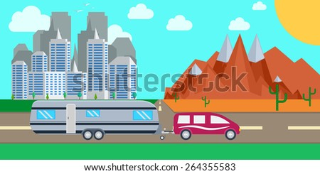 Caravaning on the road against the background of city landscape . Caravaning tourism concept. Traveling, planning a summer vacation, tourism and journey objects  - stock vector