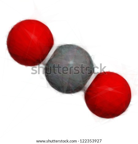 Carbon dioxide (CO2) molecule, chemical structure. Stylized vector image. - stock vector