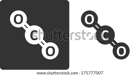 Carbon dioxide molecule, flat icon style. Stylized rendering. Atoms shown as circles. - stock vector