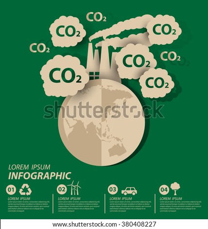 Carbon dioxide. Save world vector illustration. - stock vector