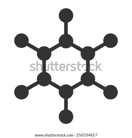 Carbon molecule flat icon for apps and websites - stock vector