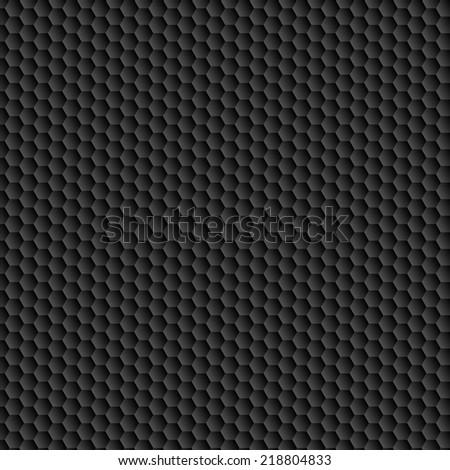 Carbon seamless pattern. Black hexagon convex texture. Vector eps10 - stock vector