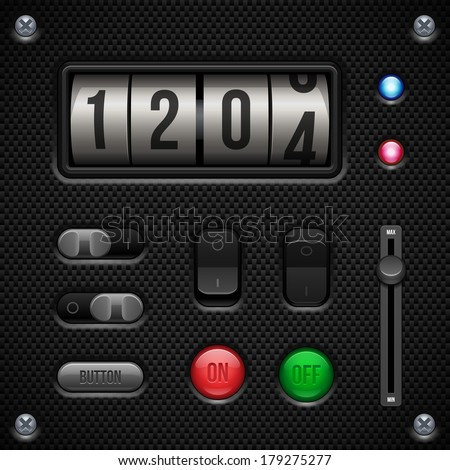 Carbon UI Application Software Controls Set. Switch, Knobs, Button, Lamp, Volume, Equalizer, Counter, Speedometr, Indicator, Detector, LED. Web Design Elements. Vector User Interface EPS10  - stock vector