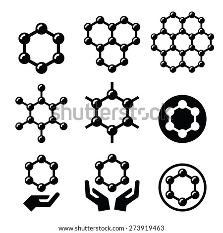 Carbone graphene structure vector icons set  - stock vector