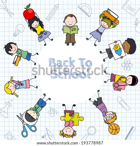 Card back to school. Children and education icons - stock vector