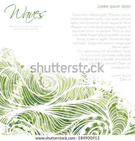Card background template with green waves - stock vector