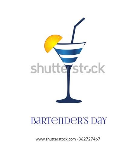 Card bartender's Day. Vector glass. - stock vector