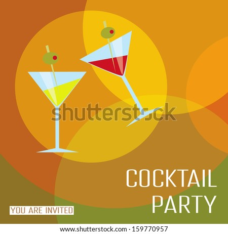 Card cocktail party. - stock vector