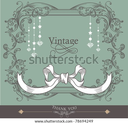 card cover design- romantic card- vintage card- baby shower - stock vector