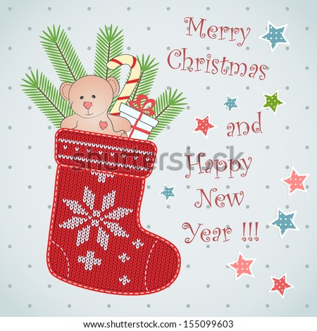 Card design with Christmas sock. - stock vector