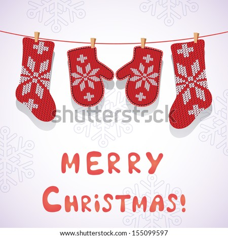 Card design with Christmas socks and mittens. - stock vector